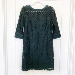 LOFT Diamond Lace Shift Dress Dark Green Sz 2